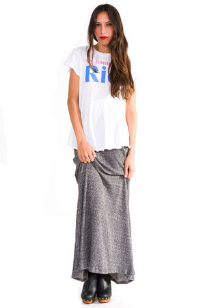 heather gray knit maxi skirt skirt