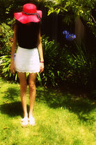 white lace skirt - white indian sandals shoes - red floppy straw hat