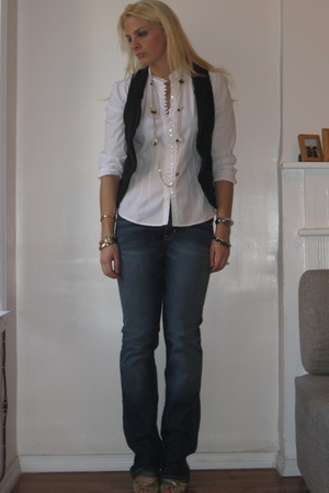 Target blouse - Urban Outfitters vest - abercrombie & fitch jeans