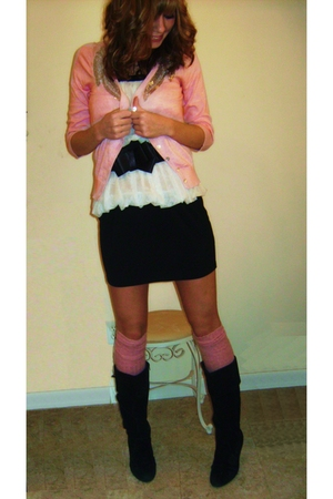 pink f21 cardigan - black delias boots - white Arden B top