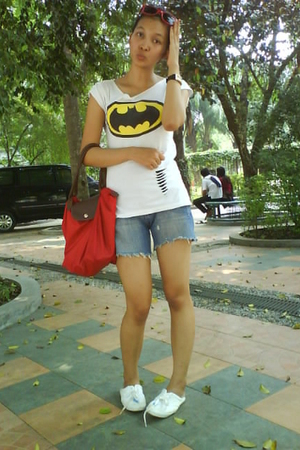 my diy ts shirt - Cheap Monday pants - longchamp accessories - Kickers shoes - r
