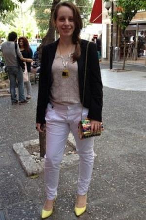 patchwork Parfois bag - black hm blazer - yellow Mango pumps - white Zara pants