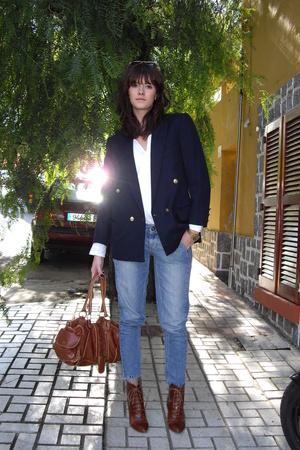 vintage jacket - boots - Top Shop jeans