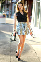 beige Ici Fashion skirt - black Windsor Store top - black heels