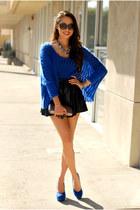 blue Sheinside sweater - black PacSun skirt - blue pink and pepper heels