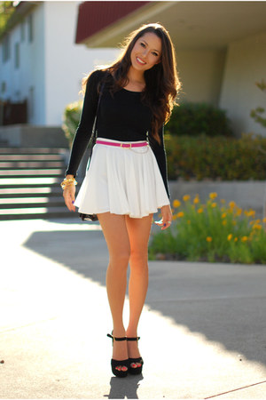 white romwe skirt - black H&amp;M top - pink OASAP belt - black Steve Madden heels