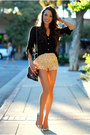 Dark-brown-very-honey-bag-tan-chicwish-shorts