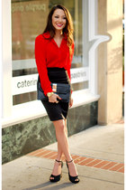 red chiffon Rieley top - black Dapper Diction bag - black Dailylook skirt