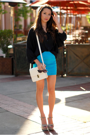 turquoise blue PacSun skirt - white Sheinside bag - black Style Sofia top