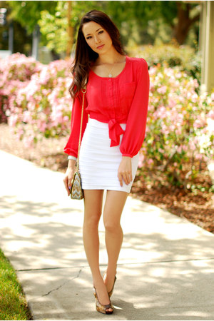 coral chiffon Forever 21 top - white bandage Bebe skirt
