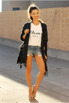 black Sheinside cardigan - white Sheinside shirt - blue American Eagle shorts
