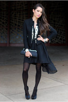 black awwdore dress - black vivilli jacket - black Aldo heels