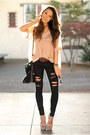 Black-similar-bullhead-black-jeans-tan-solilor-girl-sweater