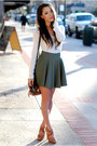 Brown-dailylook-bag-white-romwe-t-shirt-olive-green-chicwish-skirt