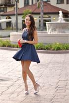 navy Dailylook dress - silver Topshop heels - navy Dailylook necklace