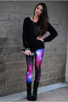 black Bebe boots - black Udobuy sweatshirt - maroon Black Milk Clothing pants