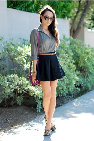 olive green Sheinside shirt - maroon CNP Bags bag - black romwe skirt