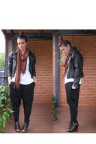black Fluxus pants - black vintage jacket - black Sweet Life by Dolce Vita - bro
