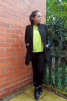 black asos boots - black Ebay coat - black Monki pants - chartreuse Zara jumper