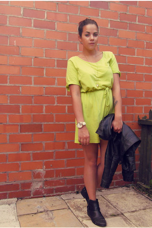 black River Island boots - lime green t-shirt dress Fashion World dress