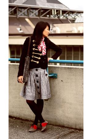 black H&M jacket - silver Forever 21 skirt - white vintage scarf - black HUE tig