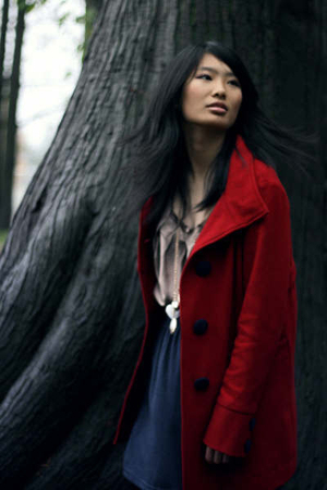 red Lux coat - gold fylo shirt - blue American Apparel skirt - gold necklace