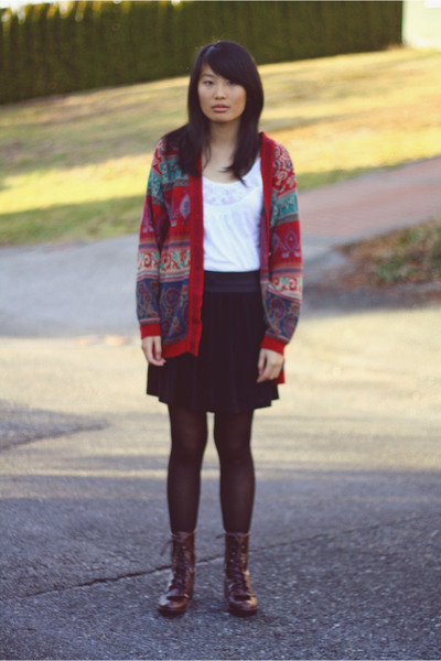 red vintage sweater - white Topshop shirt - black BDG skirt - black Betsey Johns