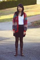 red vintage sweater - white Topshop shirt - black BDG skirt - black Betsey Johns
