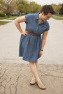Sky-blue-denim-altered-second-hand-dress-brown-urban-outfitters-belt