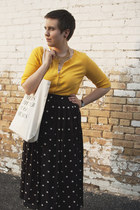 black polka dots thrifted skirt - ivory fieldguided bag - gold H&M cardigan