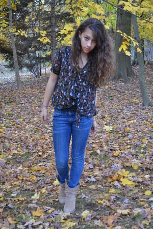 tan cowboy Rocketdog boots - blue skinny delias jeans
