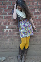 mustard Forever 21 tights - brown cowboy vintage boots