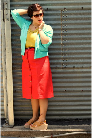 aquamarine Gap sweater - yellow For shirt - hot pink thrifted vintage skirt