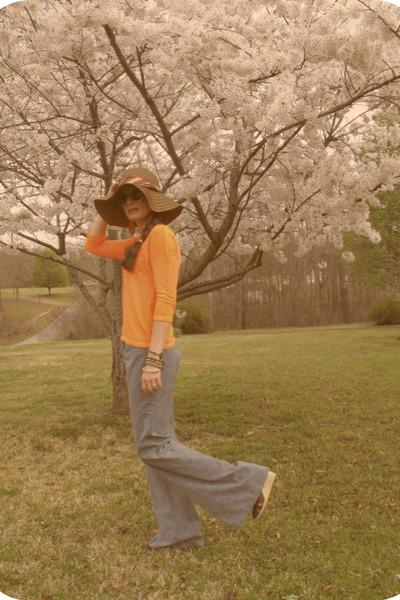 Target hat - thrifted jeans - neon orange Target top - Charming Charlie glasses