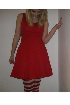 red dress new look dress - tights - white petticoat skirt