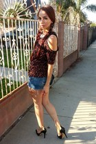 denim Forever 21 shorts - ankle strap Jessica Simpson heels