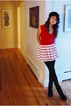 black flat Upper West Side boots - black brim hat - black tights - ruby red stri
