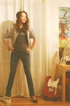 navy delias jeans - silver Forever 21 jacket - black Fioni Night heels - charcoa