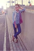 periwinkle JCrew shirt - tan suede H&M shoes - blue Uniqlo jeans