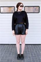 black TUK shoes - black Zara sweater - black Zara shorts