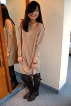 Zara dress - Lefties leggings - Sfera accessories - Lefties boots