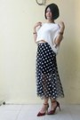 White-cropped-knitted-et-cetera-top-dark-gray-polka-dots-random-skirt