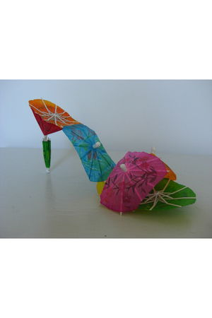 pink made by me paper umbrella shoes