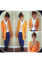 light orange Nordstrom coat - blue blue cotton J Crew pants