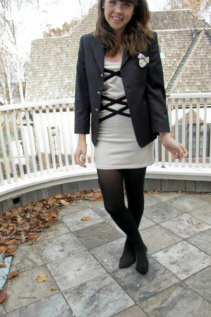 beige Topshop dress - black not sure maybe Zara blazer - black HUE tights - beig