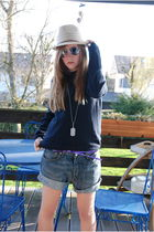 blue H&M sweater - blue Levis shorts - purple Mexx belt - beige Zara hat - black