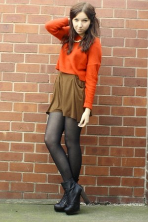 Topshop boots - pull&amp;bear skirt - H&amp;M jumper