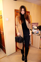 camel longline asos coat - leather H&M Trend bag - pinstripe Mango pants