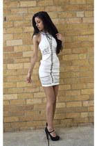 off white bardot dress - black tony bianco heels