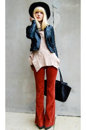 neutral BCBG sweater - black Topshop jacket - black coach bag
